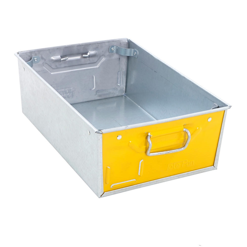 Galvanised Steel Tote Pans With Yellow Ends