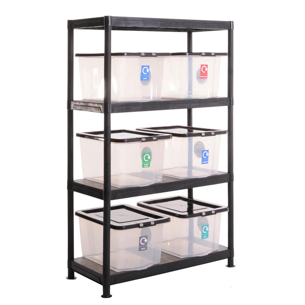 Plastic Recycling Shelving Kit With 6 Boxes