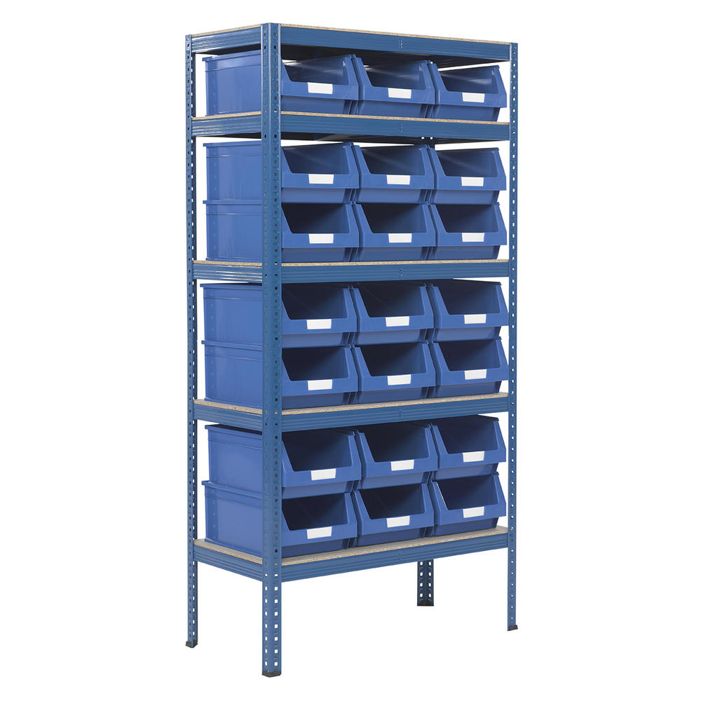 Shelving Storage Bays With Plastic Bins