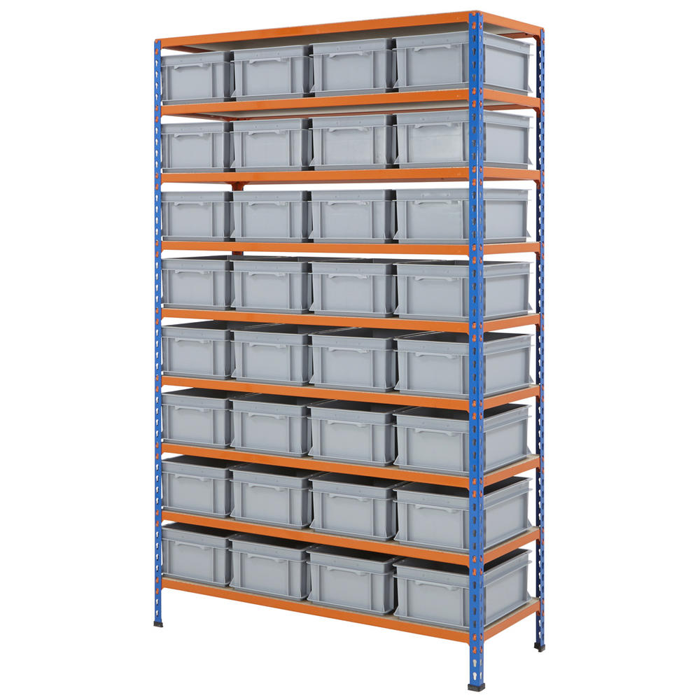 1220mm Wide Shelving Kits With Euro Containers