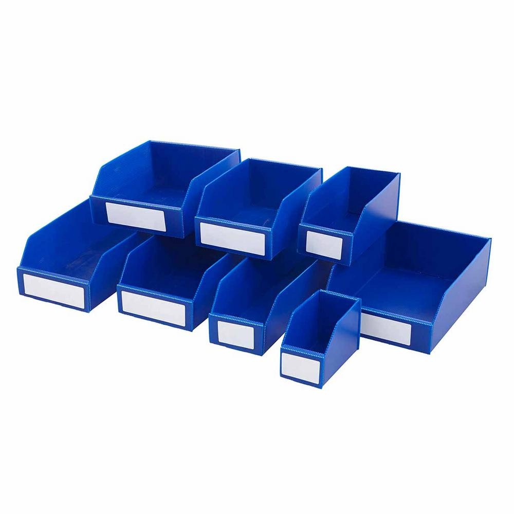 Flat Pack Corrugated Plastic Parts Bins Blue