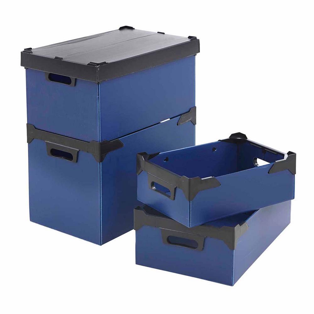 K-Bins Flat Pack Polypropylene Stacking Boxes Blue