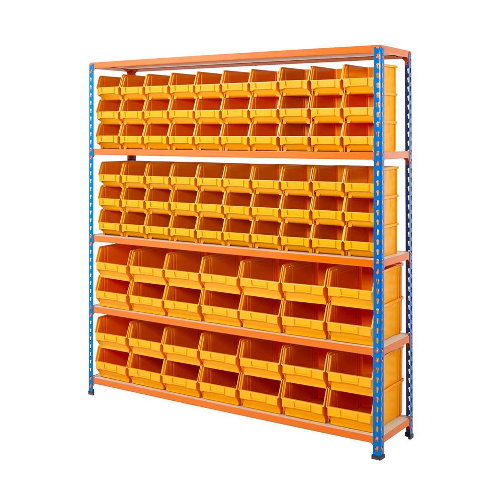 Blue & Orange Shelving With Plastic Bins Kits