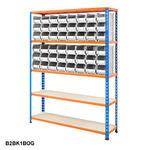 Blue & Orange Shelving With Plastic Bins Kits Thumbnail 2