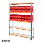 Blue & Orange Shelving With Plastic Bins Kits Thumbnail 4