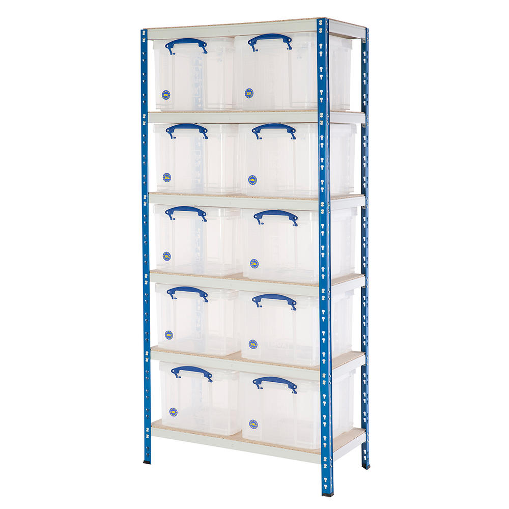 Shelving Bay With 10x 35 Litre Really Useful Boxes