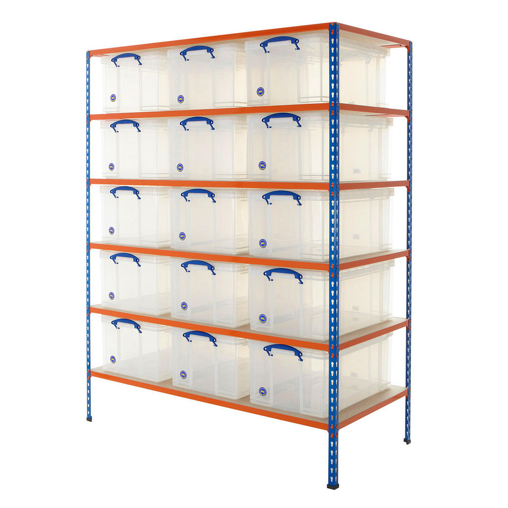 Shelving Bay With 15x 64 Litre Really Useful Boxes