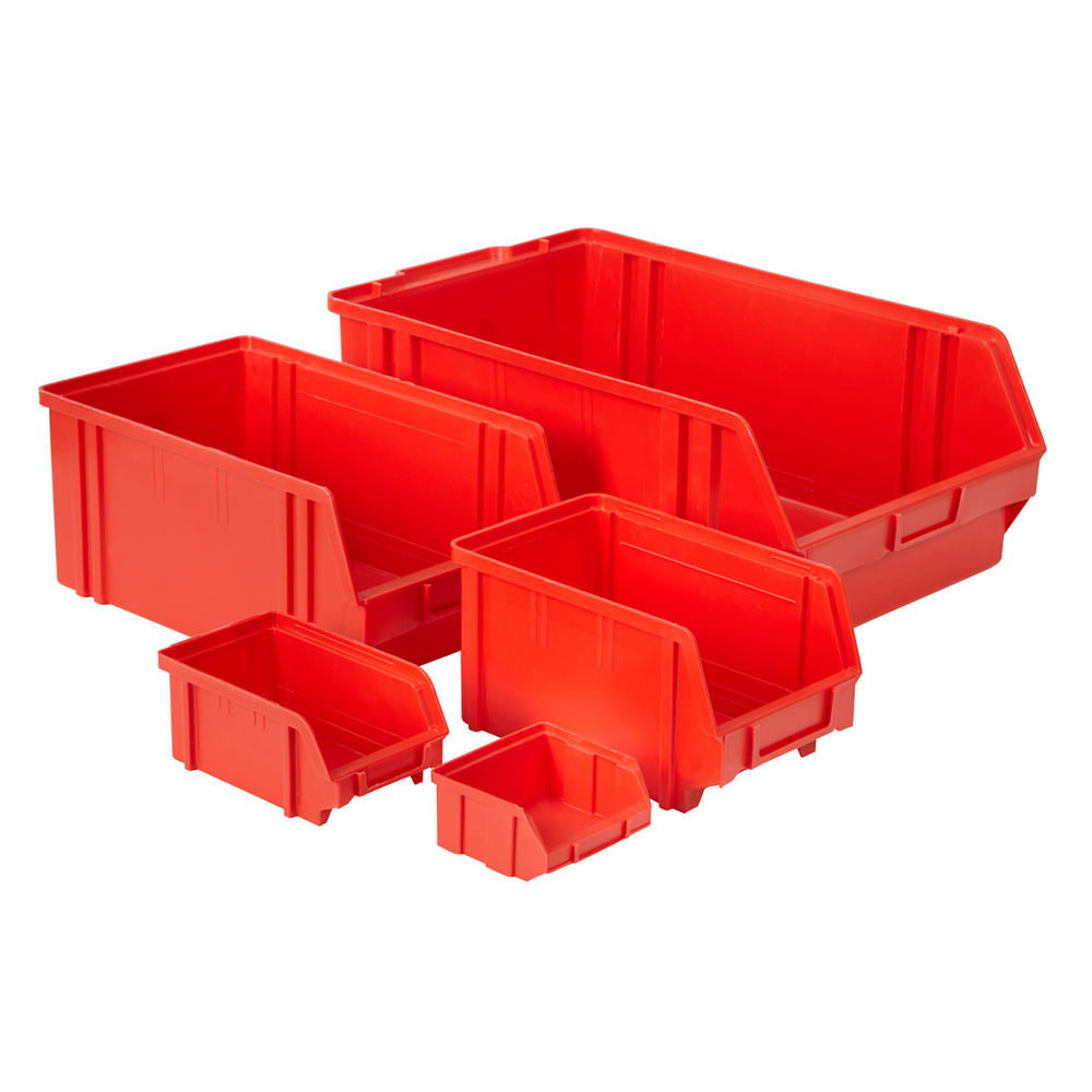 Value Plastic Parts Bins Red